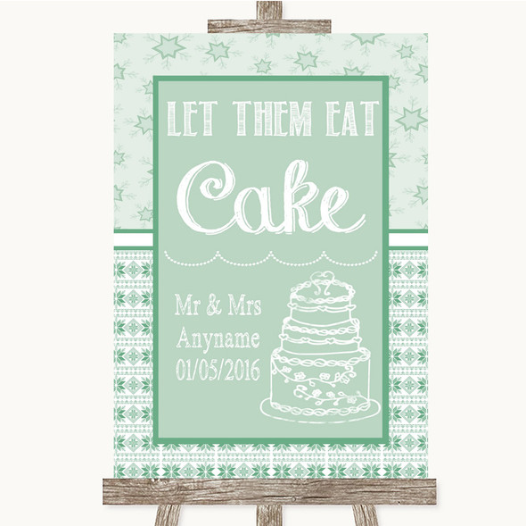 Winter Green Let Them Eat Cake Personalised Wedding Sign