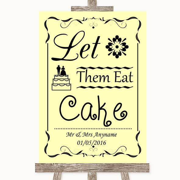 Yellow Let Them Eat Cake Personalised Wedding Sign