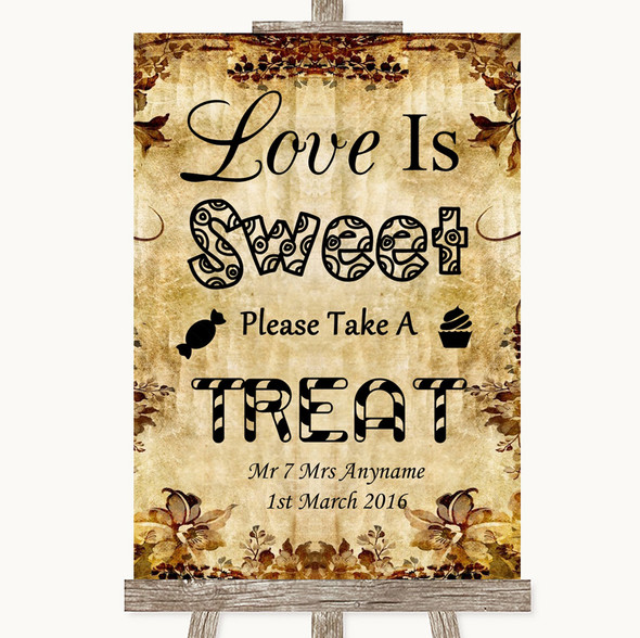 Autumn Vintage Love Is Sweet Take A Treat Candy Buffet Personalised Wedding Sign