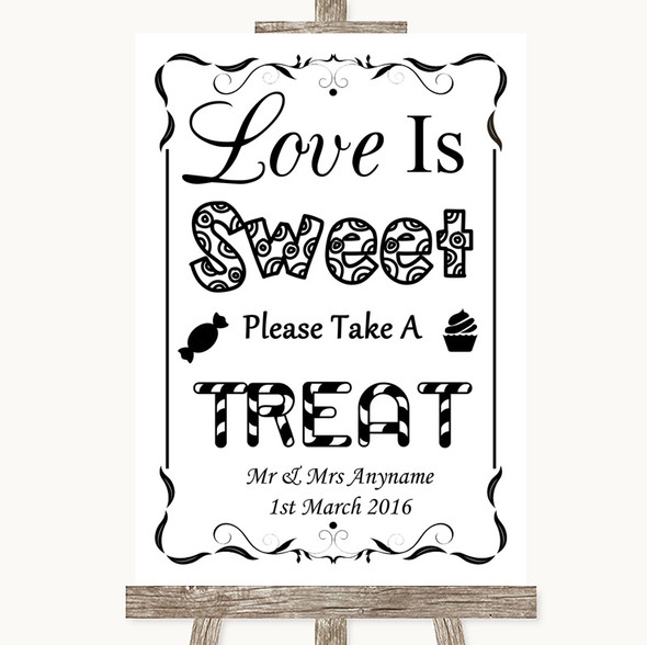 Black & White Love Is Sweet Take A Treat Candy Buffet Personalised Wedding Sign