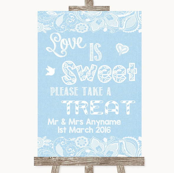 Blue Burlap & Lace Love Is Sweet Take A Treat Candy Buffet Wedding Sign