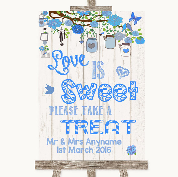 Blue Rustic Wood Love Is Sweet Take A Treat Candy Buffet Wedding Sign