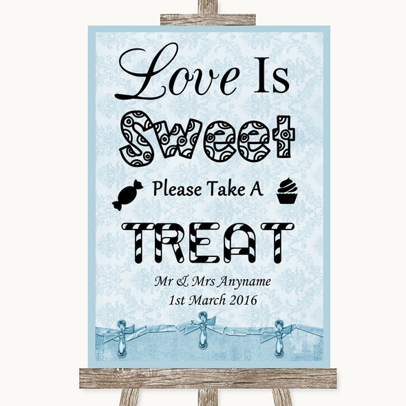 Blue Shabby Chic Love Is Sweet Take A Treat Candy Buffet Wedding Sign