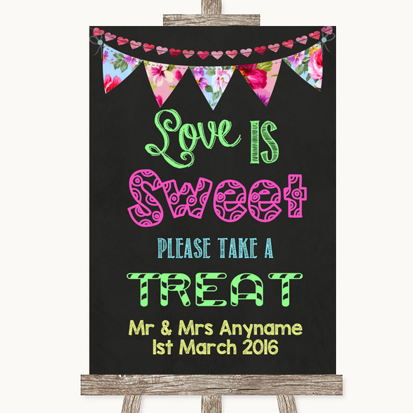 Bright Bunting Chalk Love Is Sweet Take A Treat Candy Buffet Wedding Sign