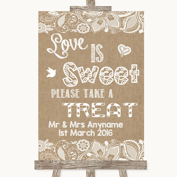Burlap & Lace Love Is Sweet Take A Treat Candy Buffet Personalised Wedding Sign