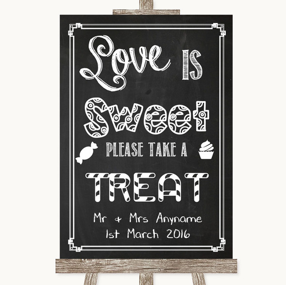 Chalk Sketch Love Is Sweet Take A Treat Candy Buffet Personalised Wedding Sign
