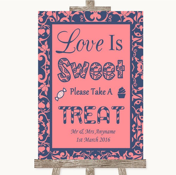 Coral Pink & Blue Love Is Sweet Take A Treat Candy Buffet Wedding Sign
