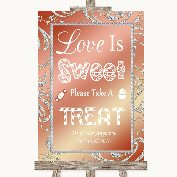 Coral Pink Love Is Sweet Take A Treat Candy Buffet Personalised Wedding Sign