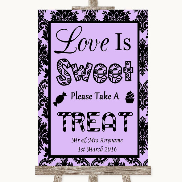 Lilac Damask Love Is Sweet Take A Treat Candy Buffet Personalised Wedding Sign