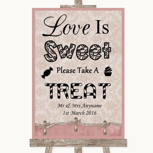 Pink Shabby Chic Love Is Sweet Take A Treat Candy Buffet Wedding Sign