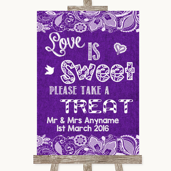 Purple Burlap & Lace Love Is Sweet Take A Treat Candy Buffet Wedding Sign