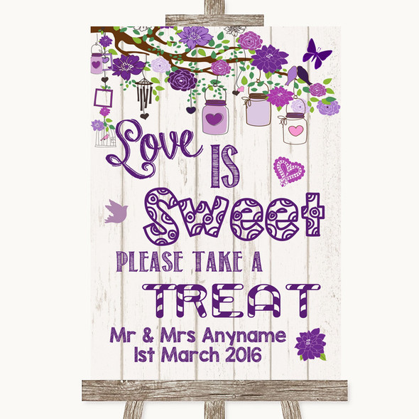 Purple Rustic Wood Love Is Sweet Take A Treat Candy Buffet Wedding Sign