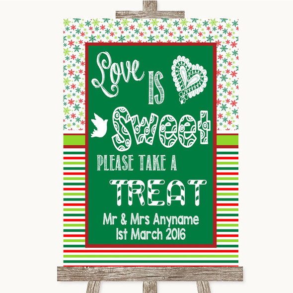 Red & Green Winter Love Is Sweet Take A Treat Candy Buffet Wedding Sign