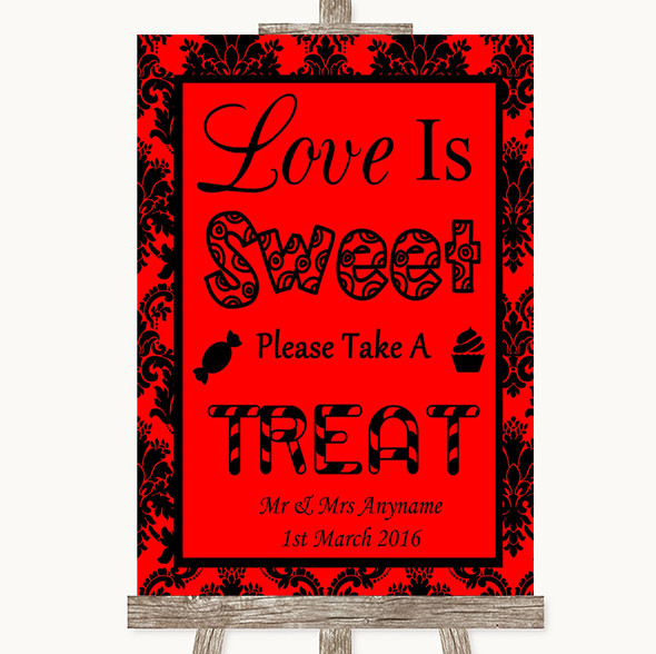 Red Damask Love Is Sweet Take A Treat Candy Buffet Personalised Wedding Sign
