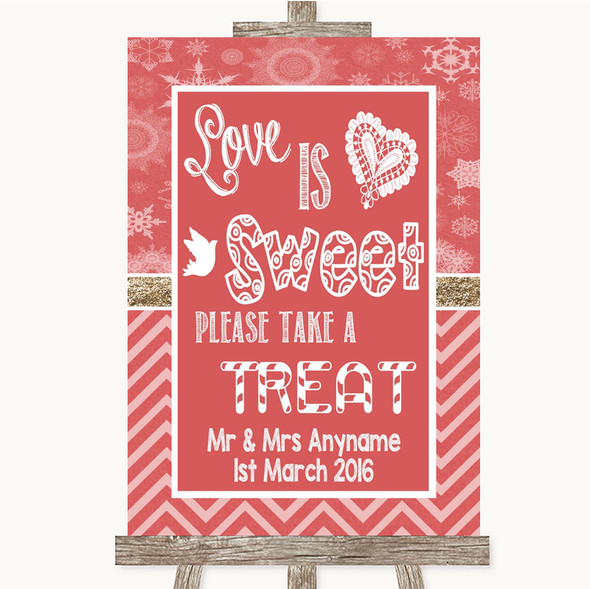 Red Winter Love Is Sweet Take A Treat Candy Buffet Personalised Wedding Sign