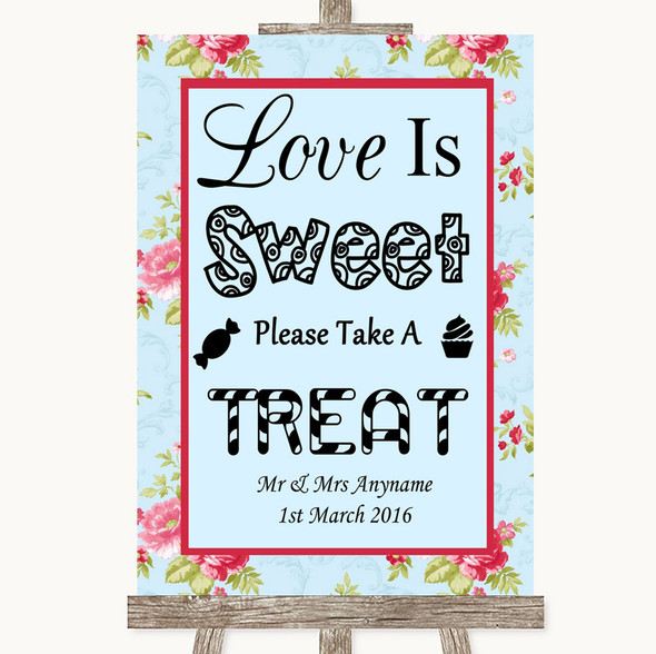 Shabby Chic Floral Love Is Sweet Take A Treat Candy Buffet Wedding Sign