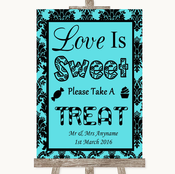 Tiffany Blue Damask Love Is Sweet Take A Treat Candy Buffet Wedding Sign