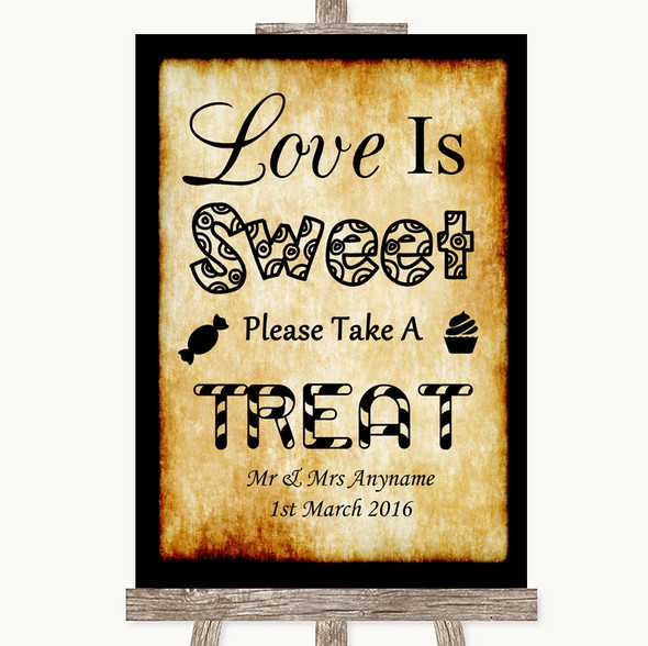 Western Love Is Sweet Take A Treat Candy Buffet Personalised Wedding Sign