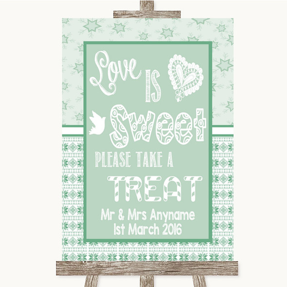 Winter Green Love Is Sweet Take A Treat Candy Buffet Personalised Wedding Sign