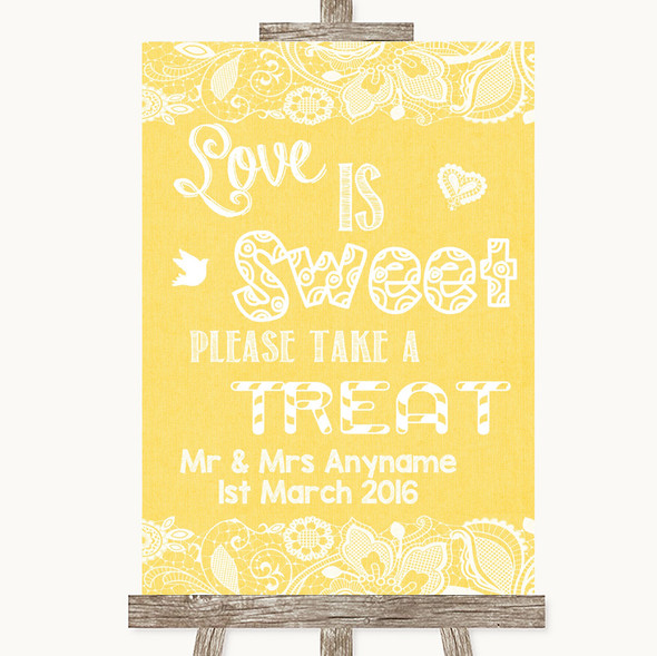 Yellow Burlap & Lace Love Is Sweet Take A Treat Candy Buffet Wedding Sign