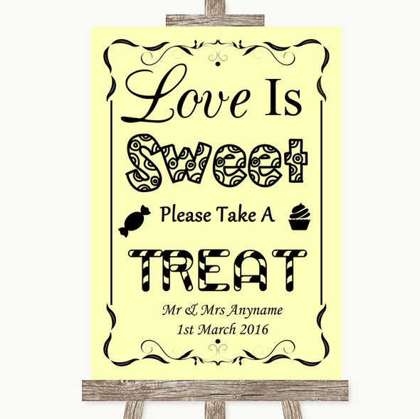Yellow Love Is Sweet Take A Treat Candy Buffet Personalised Wedding Sign