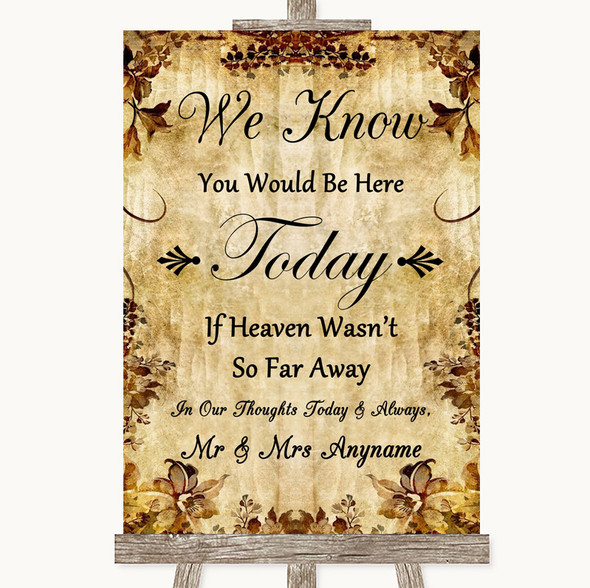 Autumn Vintage Loved Ones In Heaven Personalised Wedding Sign