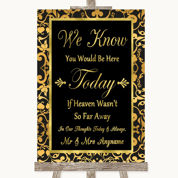 Black & Gold Damask Loved Ones In Heaven Personalised Wedding Sign