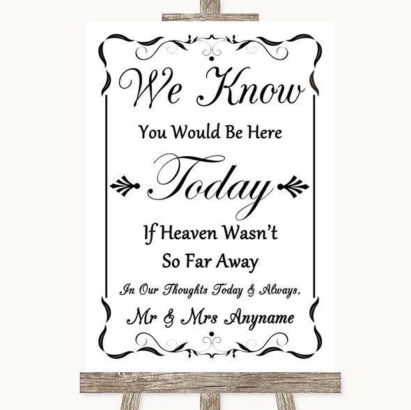 Black & White Loved Ones In Heaven Personalised Wedding Sign
