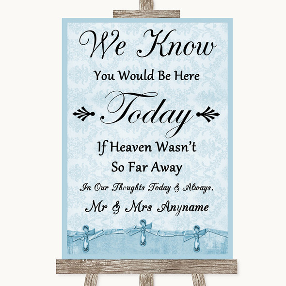 Blue Shabby Chic Loved Ones In Heaven Personalised Wedding Sign