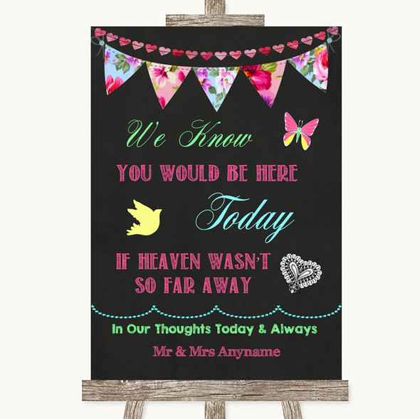 Bright Bunting Chalk Loved Ones In Heaven Personalised Wedding Sign