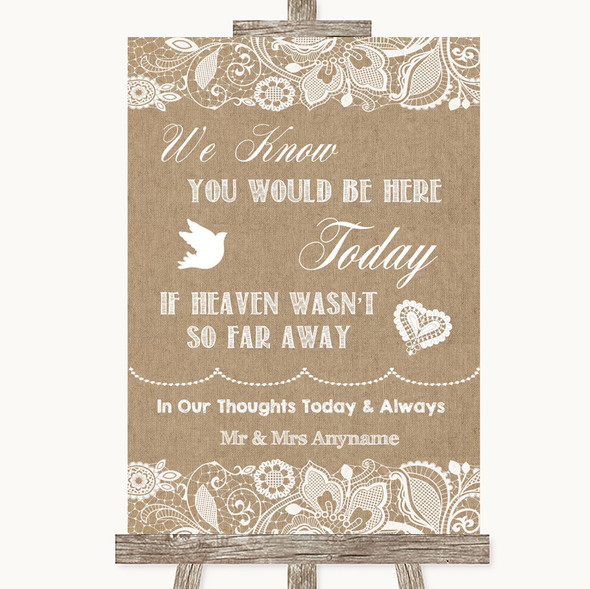 Burlap & Lace Loved Ones In Heaven Personalised Wedding Sign