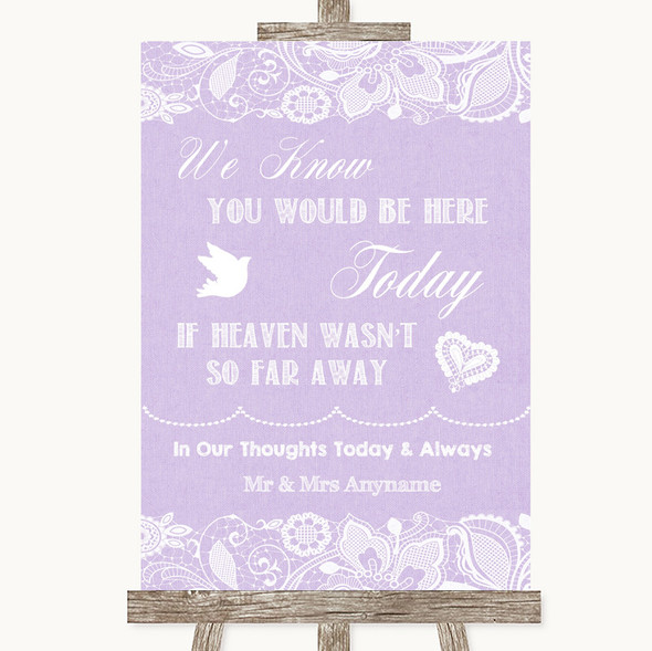 Lilac Burlap & Lace Loved Ones In Heaven Personalised Wedding Sign