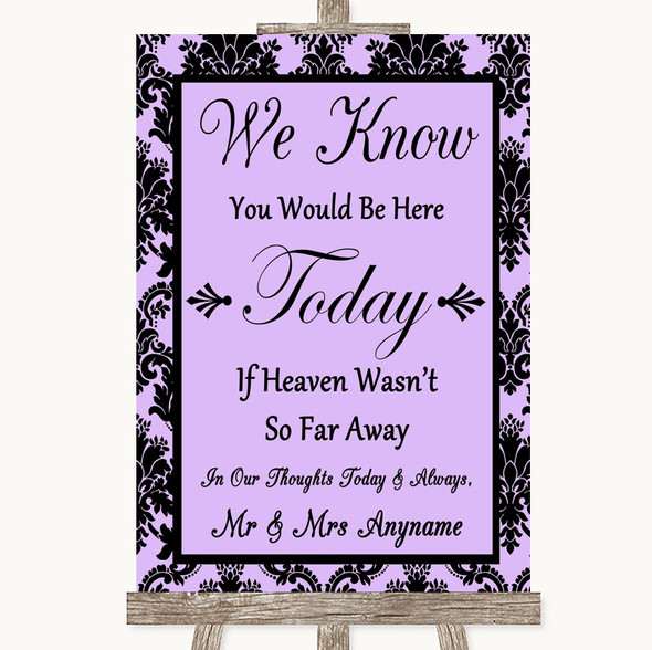 Lilac Damask Loved Ones In Heaven Personalised Wedding Sign