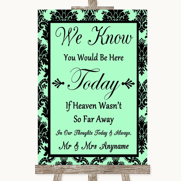 Mint Green Damask Loved Ones In Heaven Personalised Wedding Sign