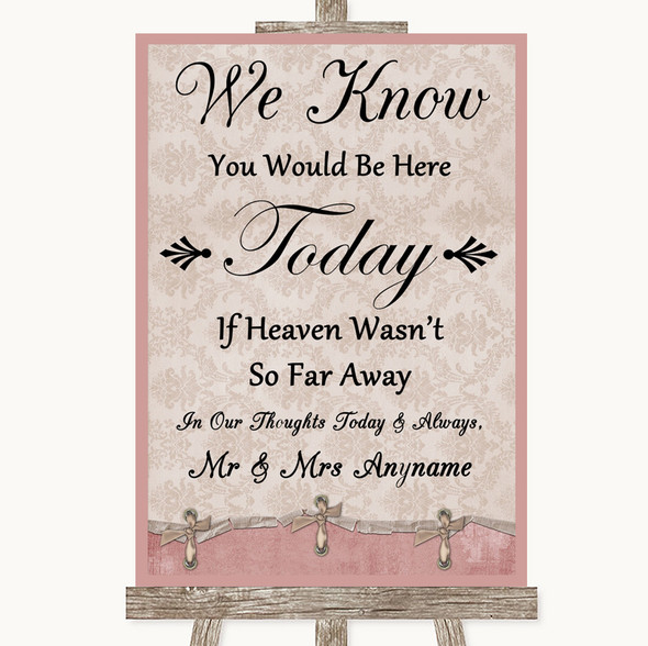 Pink Shabby Chic Loved Ones In Heaven Personalised Wedding Sign