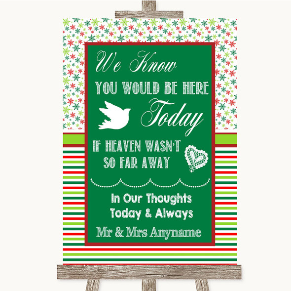 Red & Green Winter Loved Ones In Heaven Personalised Wedding Sign