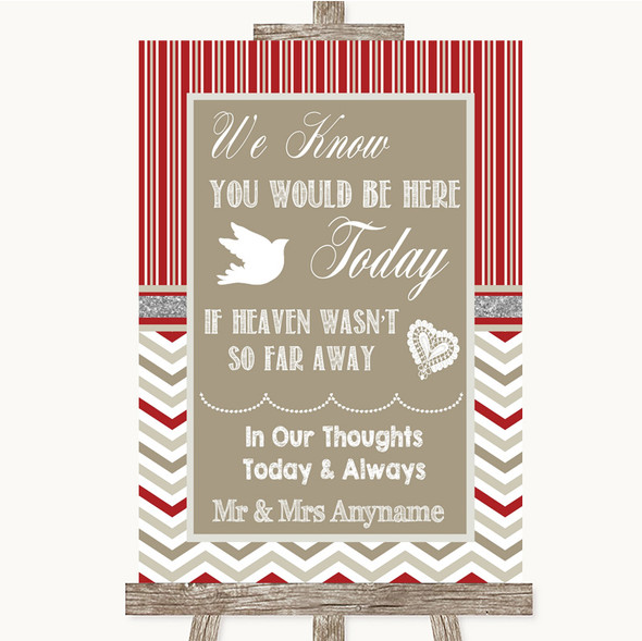 Red & Grey Winter Loved Ones In Heaven Personalised Wedding Sign