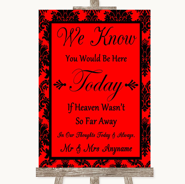 Red Damask Loved Ones In Heaven Personalised Wedding Sign