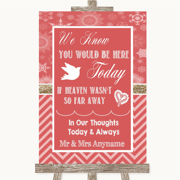 Red Winter Loved Ones In Heaven Personalised Wedding Sign