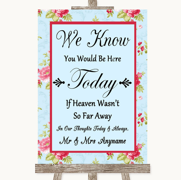 Shabby Chic Floral Loved Ones In Heaven Personalised Wedding Sign