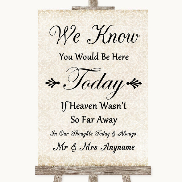 Shabby Chic Ivory Loved Ones In Heaven Personalised Wedding Sign