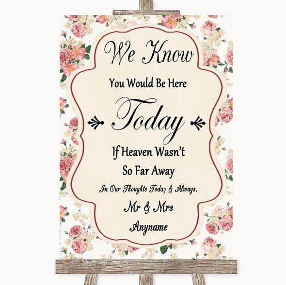 Vintage Roses Loved Ones In Heaven Personalised Wedding Sign