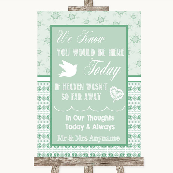 Winter Green Loved Ones In Heaven Personalised Wedding Sign