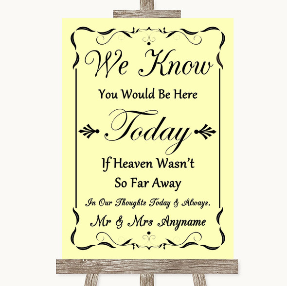 Yellow Loved Ones In Heaven Personalised Wedding Sign
