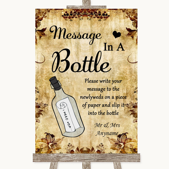 Autumn Vintage Message In A Bottle Personalised Wedding Sign