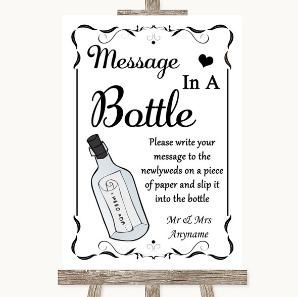 Black & White Message In A Bottle Personalised Wedding Sign