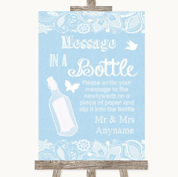 Blue Burlap & Lace Message In A Bottle Personalised Wedding Sign