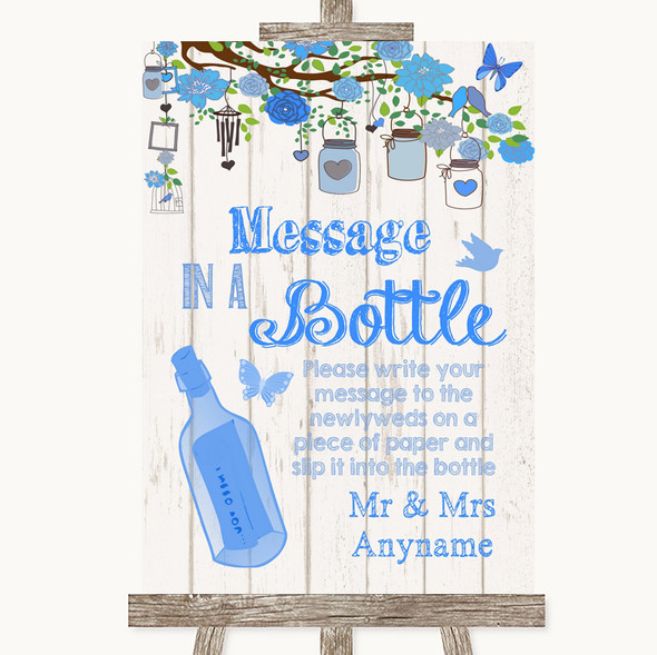Blue Rustic Wood Message In A Bottle Personalised Wedding Sign
