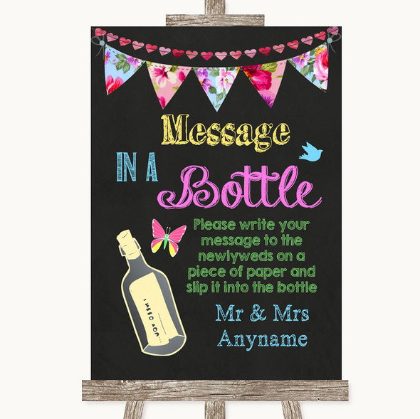 Bright Bunting Chalk Message In A Bottle Personalised Wedding Sign