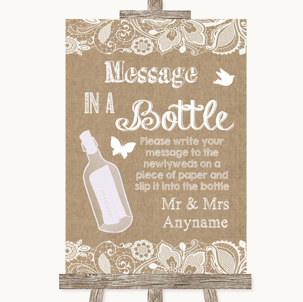 Burlap & Lace Message In A Bottle Personalised Wedding Sign